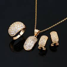 set of gold fashion jewelry set zircon 18k yellow gold jewelry set 18k