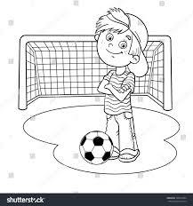 coloring page outline cartoon boy soccer stock vector 328572884