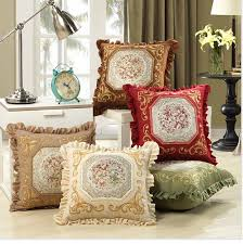 Sofa Cushions Replacement by Luxurious Embroidery Velour Home Decor Cushion Decoration Lace