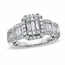 engagement rings from zales 1 ct t w multi baguette frame ring in 14k white gold