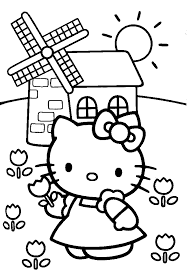 spring hello kitty colouring pages to colour cartoon coloring