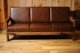 Leather And Wood Sofa Wood Frame Elkar Club