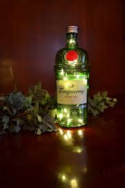 martini bottle tanqueray gin bottle light lamp green red jack daniels rum whiskey