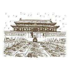 the summer palace in beijing china vector freehand pencil sketch