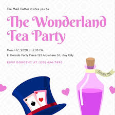 diamond pattern mad hatter tea party invitation templates by canva