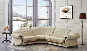 Sectional Sofa With Chaise Versa Leather Sectional Sofa In Beige Free Shipping Get Furniture