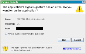 spectrum oneclick java security certificate has expired ca