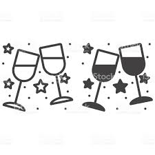 clinking glasses emoji clinking wine glasses outline and filled vector icon stock vector