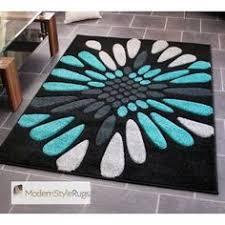 teal blue black and grey circles pattern rug very modern design
