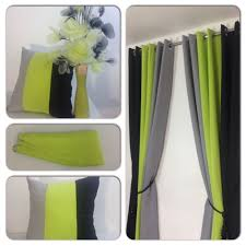 Chartreuse Velvet Curtains by Eyelet Curtains Ring Top Fully Lined Pair Ready Made 3 Tone Lime