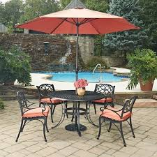 Biscayne Patio Furniture by Biscayne Black Round 7 Pc Outdoor Dining Table 4 Arm Chairs With