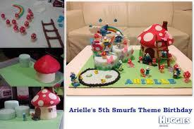 arielle u0026 x27 s 5th birthday smurfs village cake huggies birthday