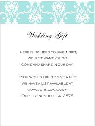 wedding gift list wording wording for gifts on wedding invitations paperinvite