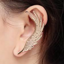 cuff earrings left angel wing ear cuff earrings single stud gold ear cuffs