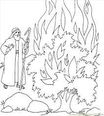 Moses Burning Bush Coloring Page Funycoloring Bible Coloring Pages Moses