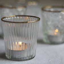 home design clear glass tea light holder with gold rim the