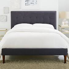 Linen Bed Frame Grid Tufted Upholstered Tapered Leg Bed West Elm