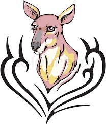 tattoo with kangaroo head color vector illustration stock