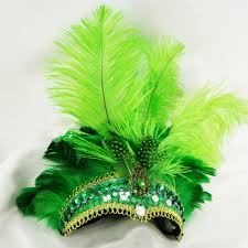 sale indian ostrich green original feathers carnival headdress