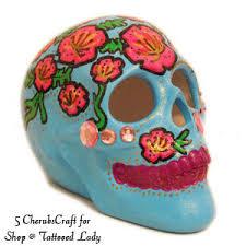 sugar skull flowers and skull gem skull handmade shop