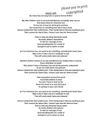 hazelgaylee santa u0027s gift u2013 poem format of song lyrics about