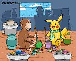 custom cartoon drawing pikachu curious george