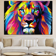 imagenes abstractas hd de animales pop arte hd impresión colorida animales león pintura al óleo