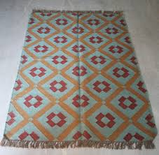 Handmade Jute Rugs 4x6 Feet Wool Jute Area Rugs Kilim Tribal Carpets Handmade Yoga