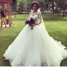 Beautiful Wedding Dresses Elegant Beautiful Puffy Ball Gown Wedding Dresses 2016 Sheer Top O