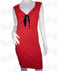 vintage red dress with black polka dots