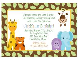 Invitation Cards For First Birthday Jungle Themed 1st Birthday Invitations Jungle First Birthday