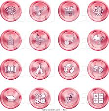 Painting Icon Clip Art Of A Collection Of Red Coin Shaped Icons Of Music Notes