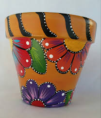 pots splendid painting a clay pot full image for painted hand