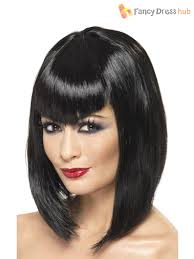 ladies vampire witch wig straight fringe womens halloween fancy