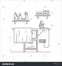 laundry line design ironing board laundry line vector illustration stock vector