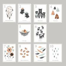 children s cards boho woodland number cards childrens wall mini counting prints
