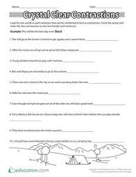 crystal clear contractions worksheet education com