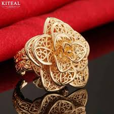 big flower rings images Women 39 s luxurious rose gold silver plated flower big rings girls jpg