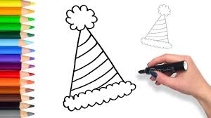learn how to draw party hat teach drawing for kids and toddlers