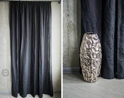 Black And Gray Curtains Blackout Curtains Etsy