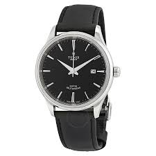 tudor style black dial automatic men u0027s leather watch 12700 0006