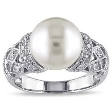 pearl and diamond engagement rings pearl rings for less overstock