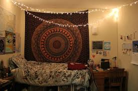 Bedroom With Lights Sweet String Lights With Unique Tapestry For Bedroom Ideas