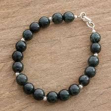 beaded jade necklace images Dark green jade beaded bracelet from guatemala mayan orbs novica jpg