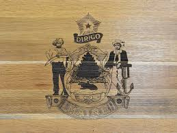 Whiskey Flag Maine State Bourbon Whiskey Barrel Flag