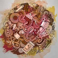 coffee shop background design cartoon hand drawn doodles of cafe coffee shop background vector