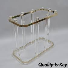 Brass Table Ls Lucite And Brass Race Track Dining Console Table Base Mid Century