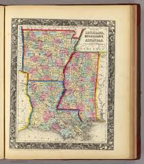 Maps Of Louisiana County Map Of Louisiana Mississippi And Arkansas David Rumsey