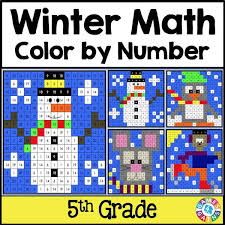 winter math color by number 5th grade u2013 games 4 gains
