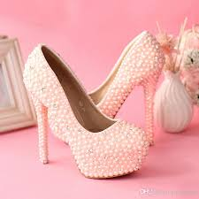 wedding shoes high sweetness pink pearls wedding shoes women rhienstone pumps jeweled